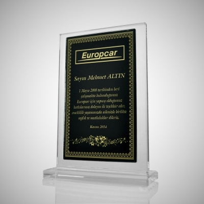 Altın Motifli Kristal Plaket 01